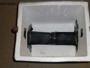 The mesh tunnel placed inside of the cooler.
