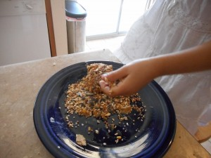 3) Adding the birdseed over the peanut butter