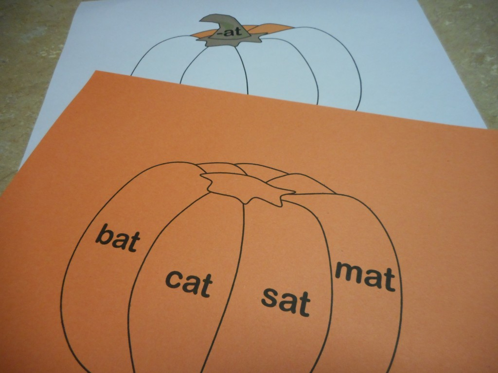 The bottom piece is printed on white paper and then the top pumpkin pieces were printed on orange paper.