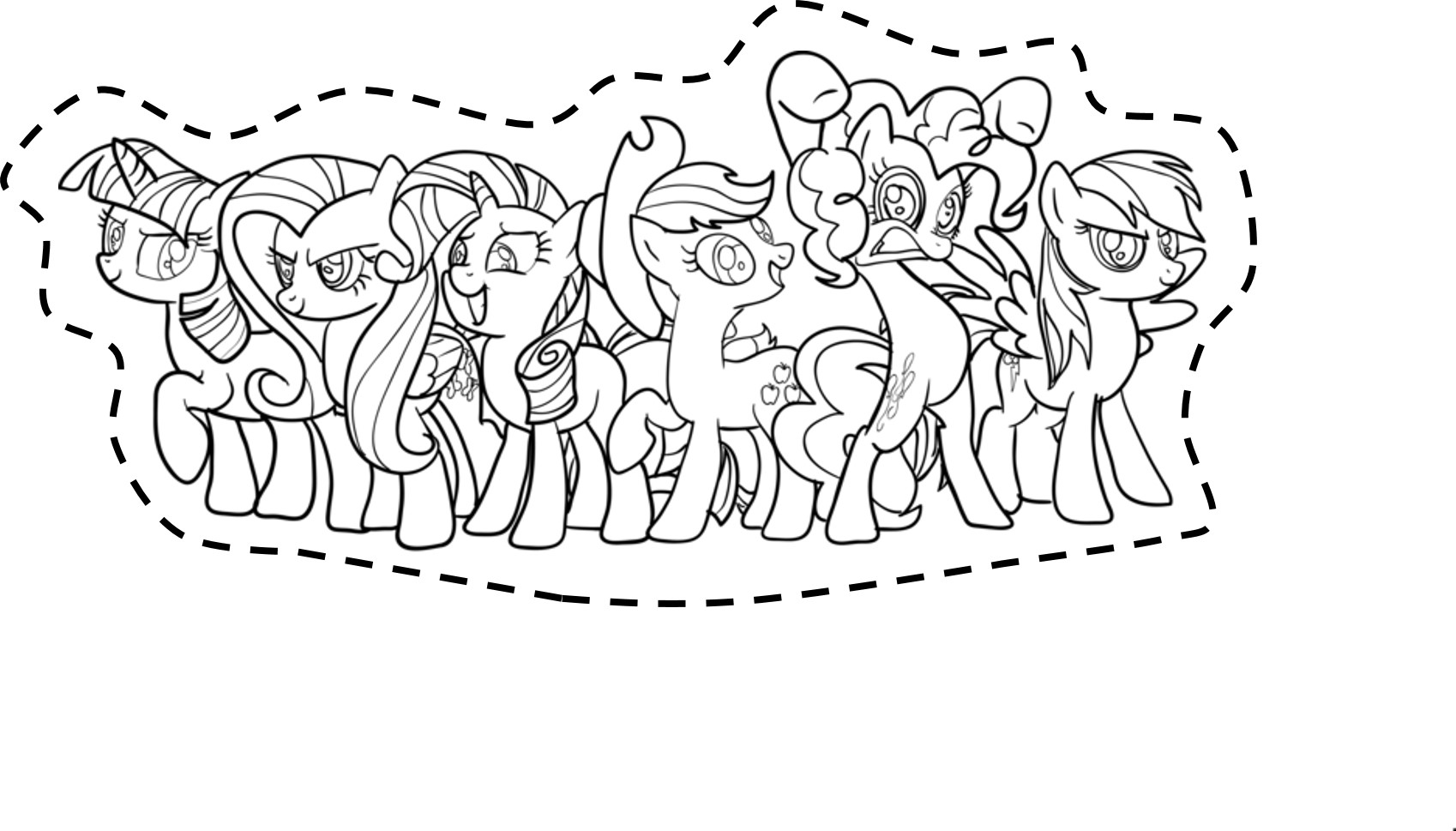 download my little pony cut outs mane six coloring